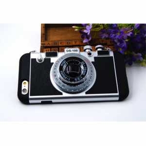 iPhone 6/6S Cover Silikone Retro kamera Sort
