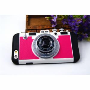 iPhone 6/6S Cover Silikone Retro kamera Pink