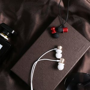 Earphone med mic. Rød