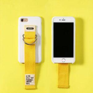 iPhone 7+/8+ Bagcover Hvid med Gul håndrem.