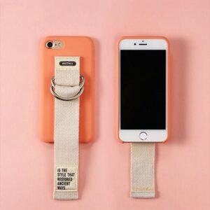 iPhone 7+/8+ Bagcover Fersken med Beige håndrem