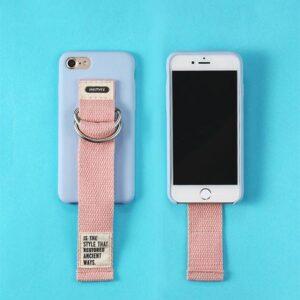 iPhone 7/8 Cover Blå med lyserød håndrem