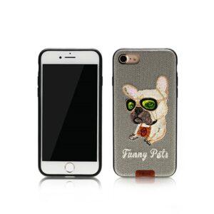 iPhone 7+/8+ Cover Broderet Bulldog m briller Grå
