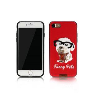 iPhone 7+/8+ Cover Broderet hvalp med briller Rød