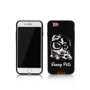 iPhone 7+/8+ Cover Broderet Husky brille/fodbold