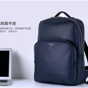 Rygsæk bærebar PC Læder/Tekstil 34x14x45cm. Blå