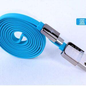Micro-USB kabel 1m. Flad design, Blå