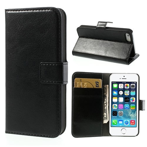 7f6d20eb079 iPhone 5/5S/SE flipcover i PU læder og plads til kreditkort, sort ...