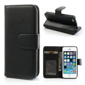 iPhone 5/5S/5SE Flip-cover m. kortholder, sort