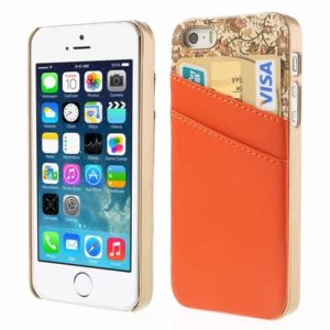 iPhone5/5S/SE cover m. kortholder, orange