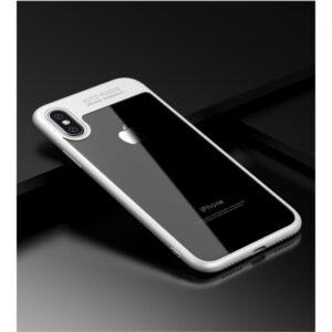 iPhone X Cover TPU klar bagside med Hvid ramme.