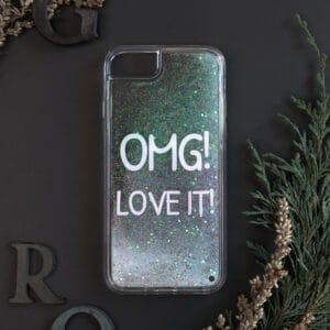 iPhone 7/8/SE 2020 med flydende glitter, OMG