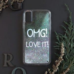 iPhone XR med flydende glitter, OMG