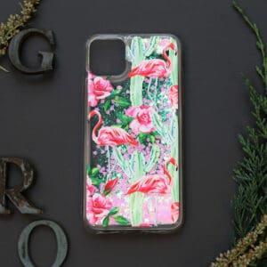 iPhone 11 med flydende glitter, Blomster