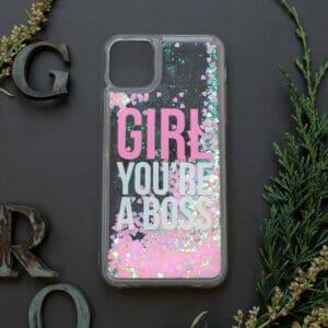 iPhone 11 Pro med flydende glitter, girl boss