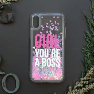 iPhone 7/8/SE2020 med flydende glitter, Girl boss