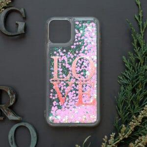 iPhone 11 med flydende glitter, Love