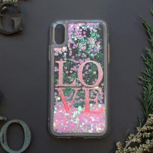 iPhone 7/8/SE2020 med flydende glitter, Love