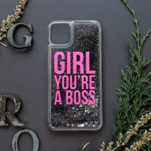 iPhone 11 med flydende glitter, Girl boss sort
