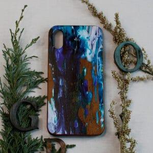 iPhone X/XS bagside i træ, Blå mønster