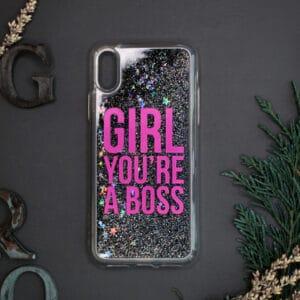 iPhone X/XS med flydende glitter, Girl boss sort