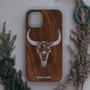 iPhone 11 bagside i træ, Kranie med horn