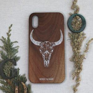 iPhone X/XS bagside i træ, Kvæg kranie