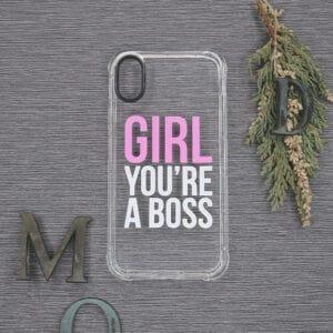 iPhone XR Transparent, Girl You're a Boss, Stødsikre