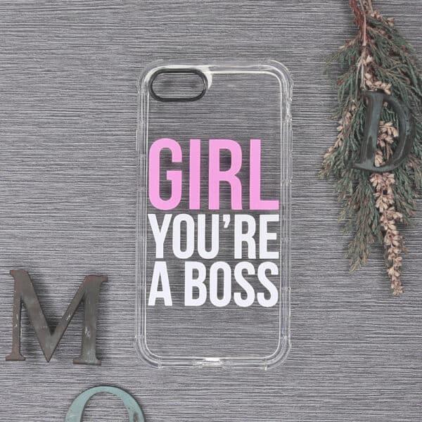 iPhone 7/8/SE 2020 Transparent, Girl you're a boss, stødsikre