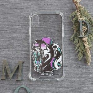 iPhone XR Transparent, Bjørn med headset, Stødsikre