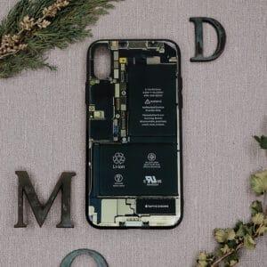 iPhone X/XS bagside i glas, indmad sort
