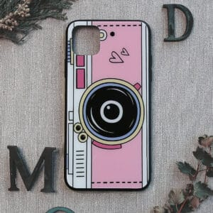 iPhone 11 bagside i glas, kamera, lyserød