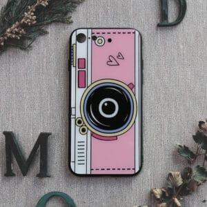iPhone 7/8/SE 2020 bagside i glas, Kamera, lilla
