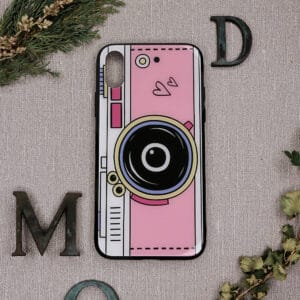 iPhone XR bagside i glas, kamera, lyserød