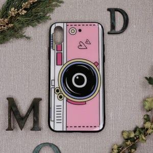 iPhone X/XS bagside i glas, kamera, lyserød