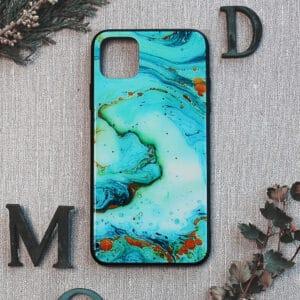 iPhone 11 bagside i glas, Marmor, turkis
