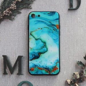 iPhone 7/8/SE 2020 bagside i glas, Marmor, turkis