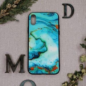iPhone X/XS bagside i glas, marmor turkis