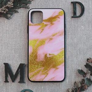 iPhone 11 Pro bagside i glas, Marmor, lyserød