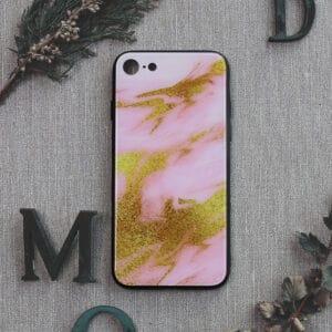 iPhone 7/8/SE 2020 bagside i glas, Marmor, lyserød