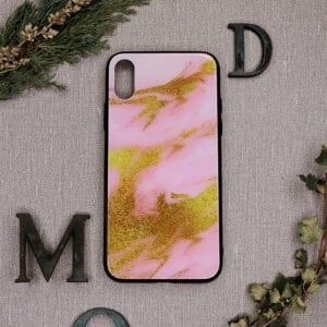 iPhone X/XS bagside i glas, marmor lyserød