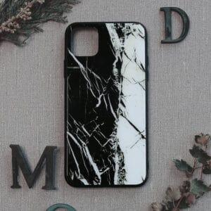 iPhone 11 bagside i glas, Marmor, sort