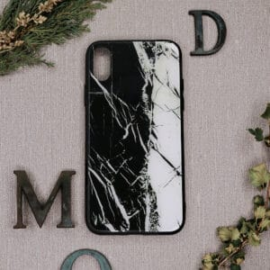 iPhone XR bagside i glas, Marmor, sort