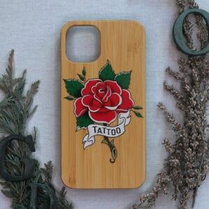 iPhone 11 Pro bagside i træ, Tattoo rose