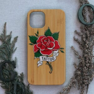 iPhone 11 Pro max bagside i træ, Tattoo rose