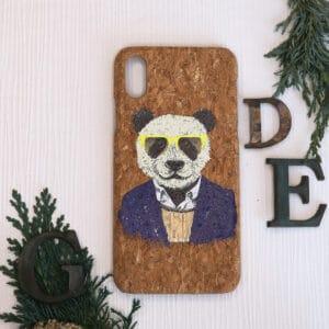 iPhone X/XS bagside i kork, Panda