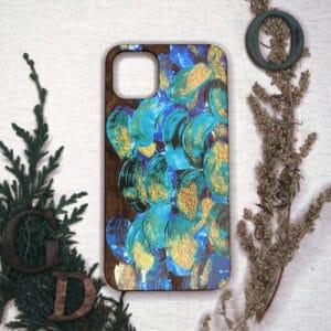 iPhone 11 bagside i træ, Blå-Guld