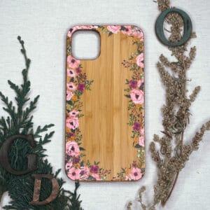 iPhone 11 bagside i træ, Blomster
