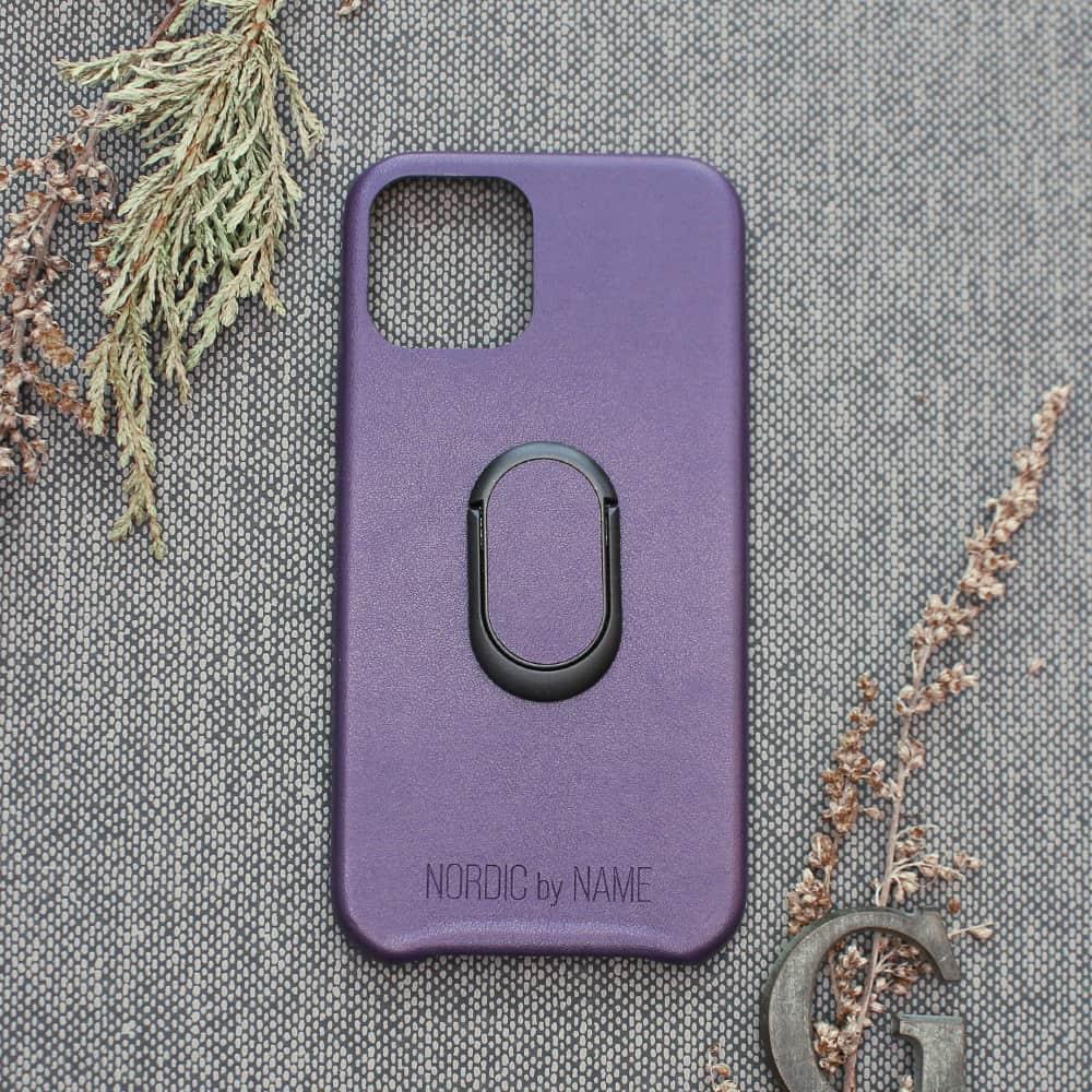 iPhone 12 Mini bagside med finger holder, Lilla