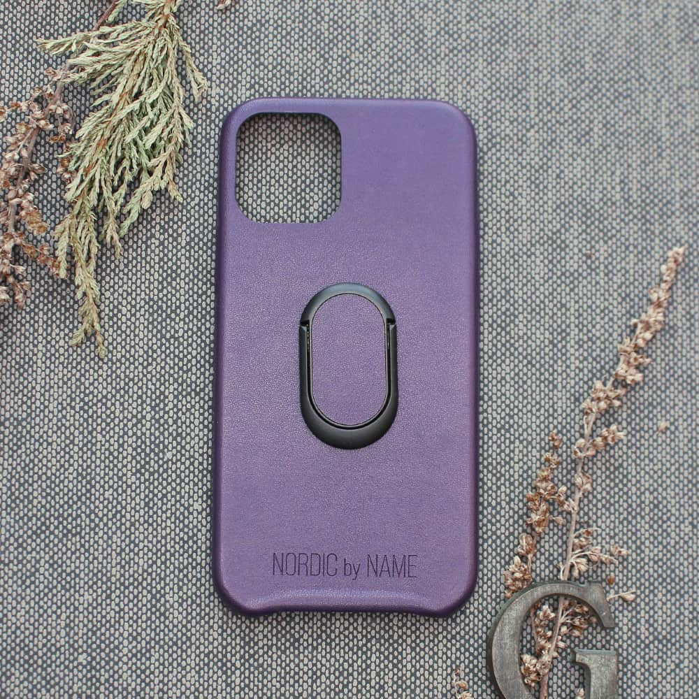 iPhone 12/12 Pro bagside med finger holder, Lilla
